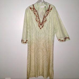 Soft Surroundings Calftan Style Beaded Silk Tunic